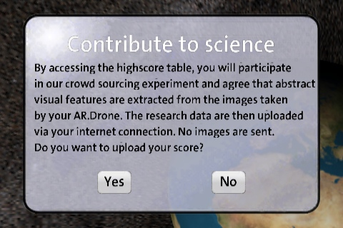 Message that is shown to a user before data is uploaded to the central research database